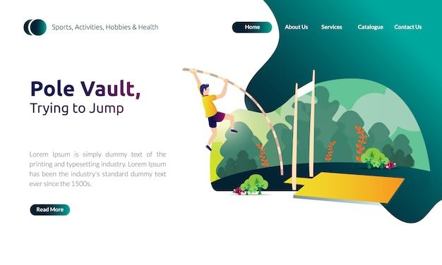 Illustratie voor bestemmingspaginasjabloon - proberen te springen, polsstokspringen met sportactiviteit