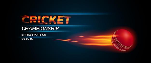Illustratie voor crickettoernooi. bal om te spelen en sjabloontekst voor de banner van de spelaankondiging