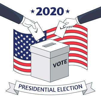 Illustratie voor de amerikaanse presidentsverkiezingen van 2020 Premium Vector