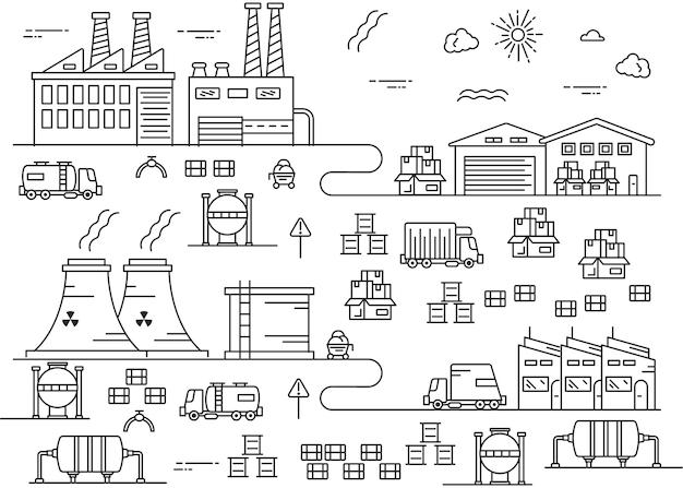 Illustratie voor de industrie in dunne lijnstijl