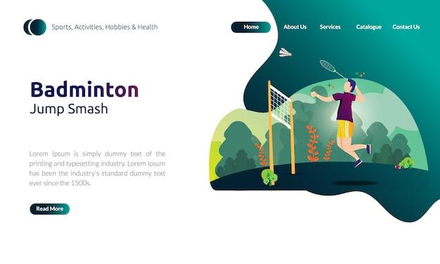 Illustratie voor de sjabloon voor de bestemmingspagina - man smash-jump, badminton-activiteiten