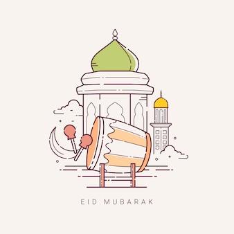 Illustratie voor de viering van eid mubarak met lijntekeningen design