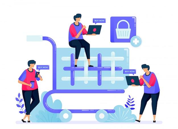 Illustratie voor eenvoudige winkelwagentje en trolley. afrekenen knop voor online winkel, e-commerce, supermarkt en supermarkt.
