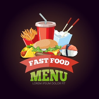 Illustratie voor fast-food menu
