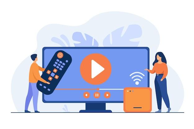 Illustratie voor film kijken, home entertainment-concept. cartoon afbeelding