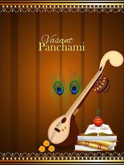 Illustratie voor godin saraswati, gelukkige vasant panchami en achtergrond
