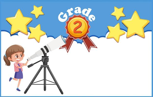 Illustratie voor graad twee met meisje en telescoop