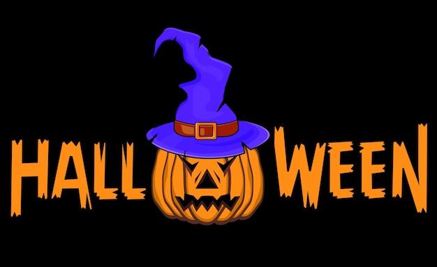 Illustratie voor halloween, heksenhoed en pompoen.