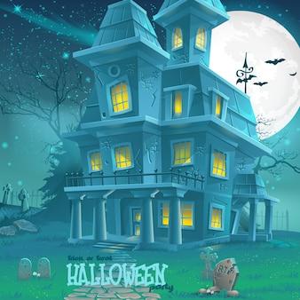 Illustratie voor halloween-spookhuis voor een feestje