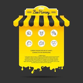 Illustratie voor het adverteren van honingproduct van de bijenteelt
