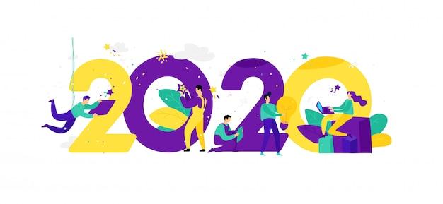 Illustratie voor het nieuwe jaar 2020. vector.