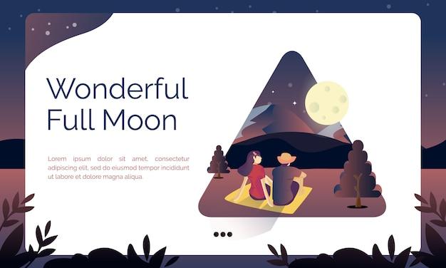 Illustratie voor landingspagina, prachtige volle maan