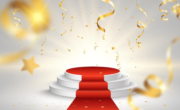 Illustratie voor prijswinnaars. sokkel of platform voor het eren van prijswinnaars.