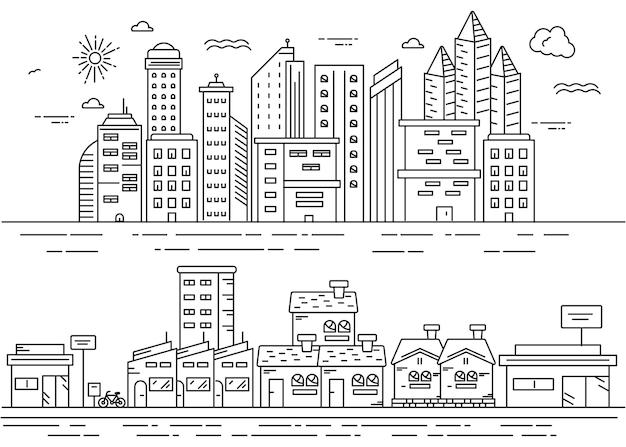 Illustratie voor stedelijk in stadslijnstijl met verschillende stijl