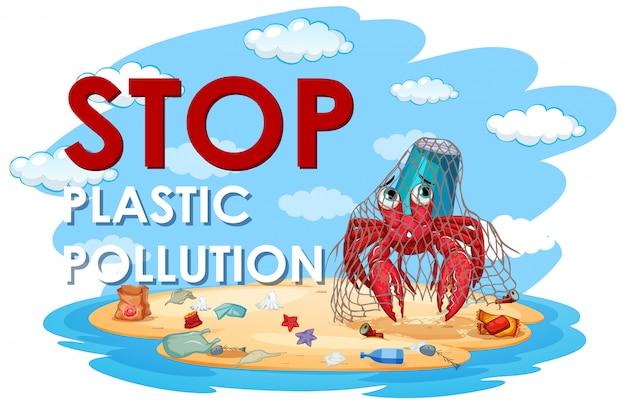 Illustratie voor stop plastic vervuiling