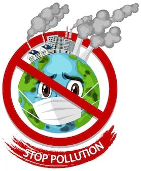 Illustratie voor stop vervuiling met aarde masker dragen