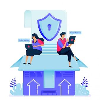 Illustratie voor veiligheidsgarantie bij vrachtzendingen. veiligheidsbox bij levering en import van e-commerce producten.