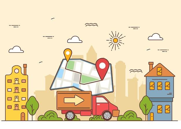 Illustratie vrachtwagens levering met kaart