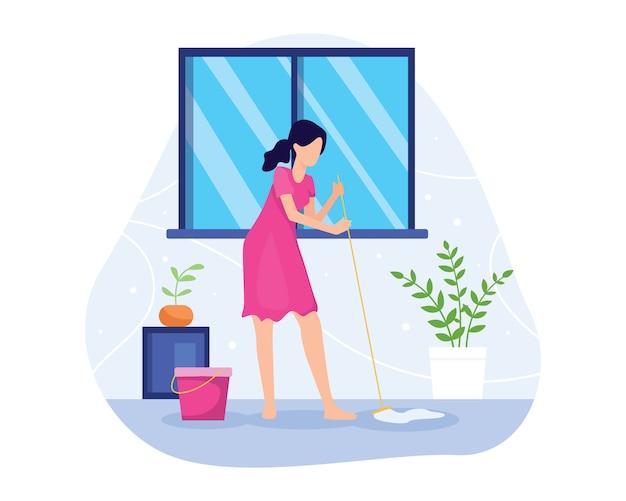 Illustratie vrouw dweilen de vloer