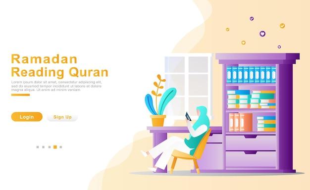Illustratie vrouw leest en bestudeert vurig de koran in haar studeerkamer