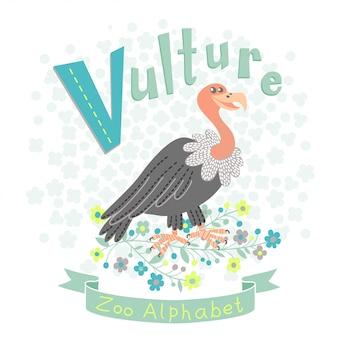 Illustratie vulture in cartoon-stijl naar letter van alfabet v