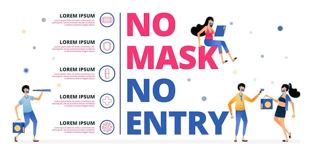 Illustratie waarschuwing van geen masker geen invoer