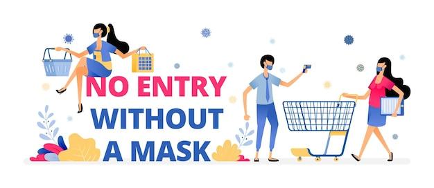 Illustratie waarschuwing van geen toegang zonder een masker Premium Vector