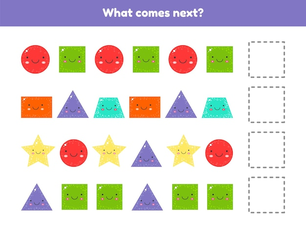 Illustratie. wat volgt. ga door met de reeks. geometrische vormen. werkblad voor kinderen, kleuterschool, voorschoolse en leerplichtige leeftijd.
