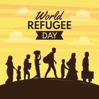 Illustratie wereld vluchtelingendag tekening