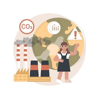 Illustratie wereldwijde co2-uitstoot