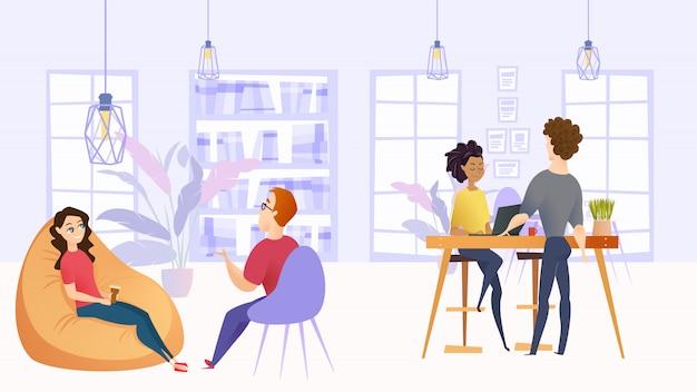 Illustratie werkomgeving in bedrijfsbureau