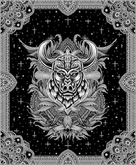 Illustratie wild zwijn viking hoofd met vintage gravure ornament