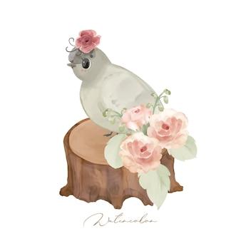 Illustratie wilde dieren en natuurlijke bloemen Premium Vector