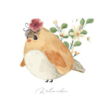 Illustratie wilde dieren en natuurlijke bloemen