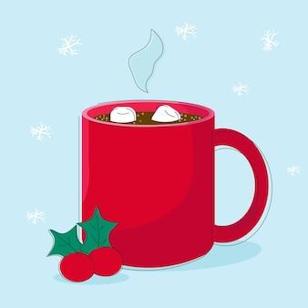 Illustratie winterdessertdrank kop warme chocolademelk met marshmallows vector