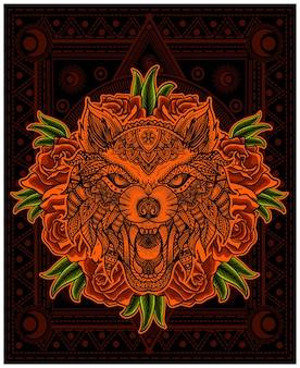 Illustratie wolf hoofd mandala met roze bloem