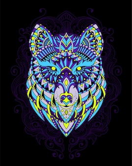 Illustratie wolf mandala
