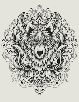 Illustratie wolfshoofd met vintage ornament