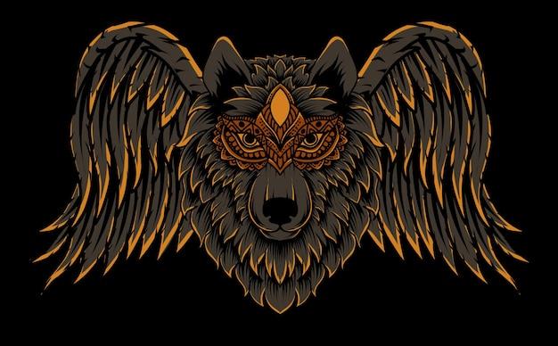 Illustratie wolfshoofd met vleugels