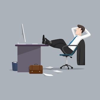 Illustratie zakenman ontspannen tussen het werk
