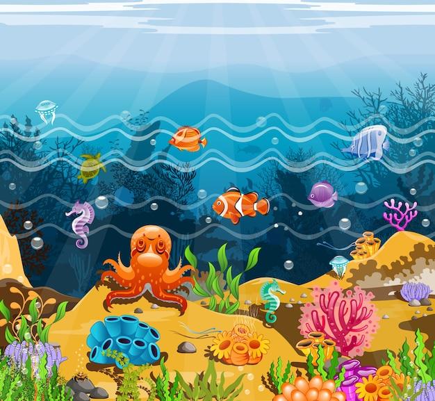 Illustratie zee inktvis en cartoon vis