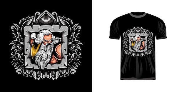 Illustratie zeus met gravure ornament voor t-shirt design