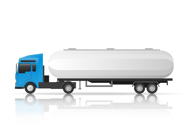 Illustratie zijaanzicht van tankervrachtwagen.