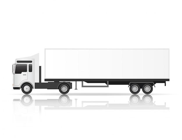 Illustratie zijaanzicht van witte vrachtwagen.