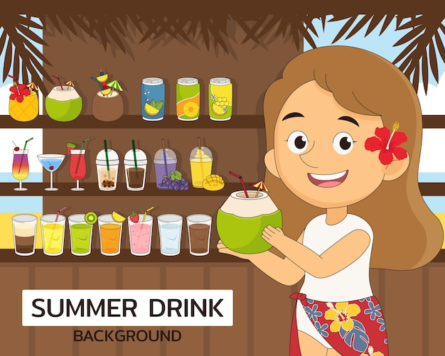 Illustratie zomerdrank Premium Vector