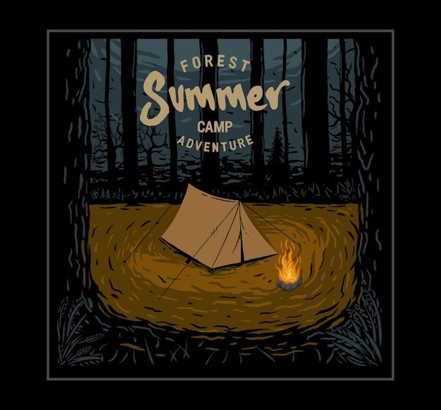 Illustratie zomerkamp bos Premium Vector