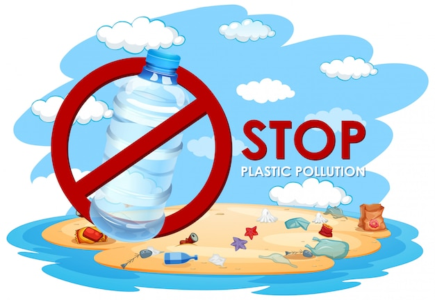 Illustratie zonder plastic vervuiling
