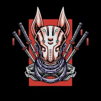 Illustratie zwaardvechter die kitsune-masker draagt