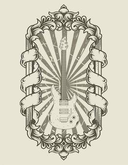Illustratie zwart-wit gitaar op vintage ornament