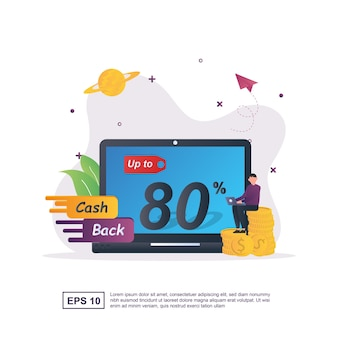 Illustratieconcept cashback met mensen die cashback tot 80% promoten.